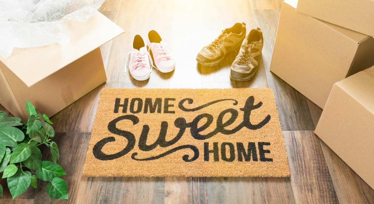 felpudo con la frase dulce hogar