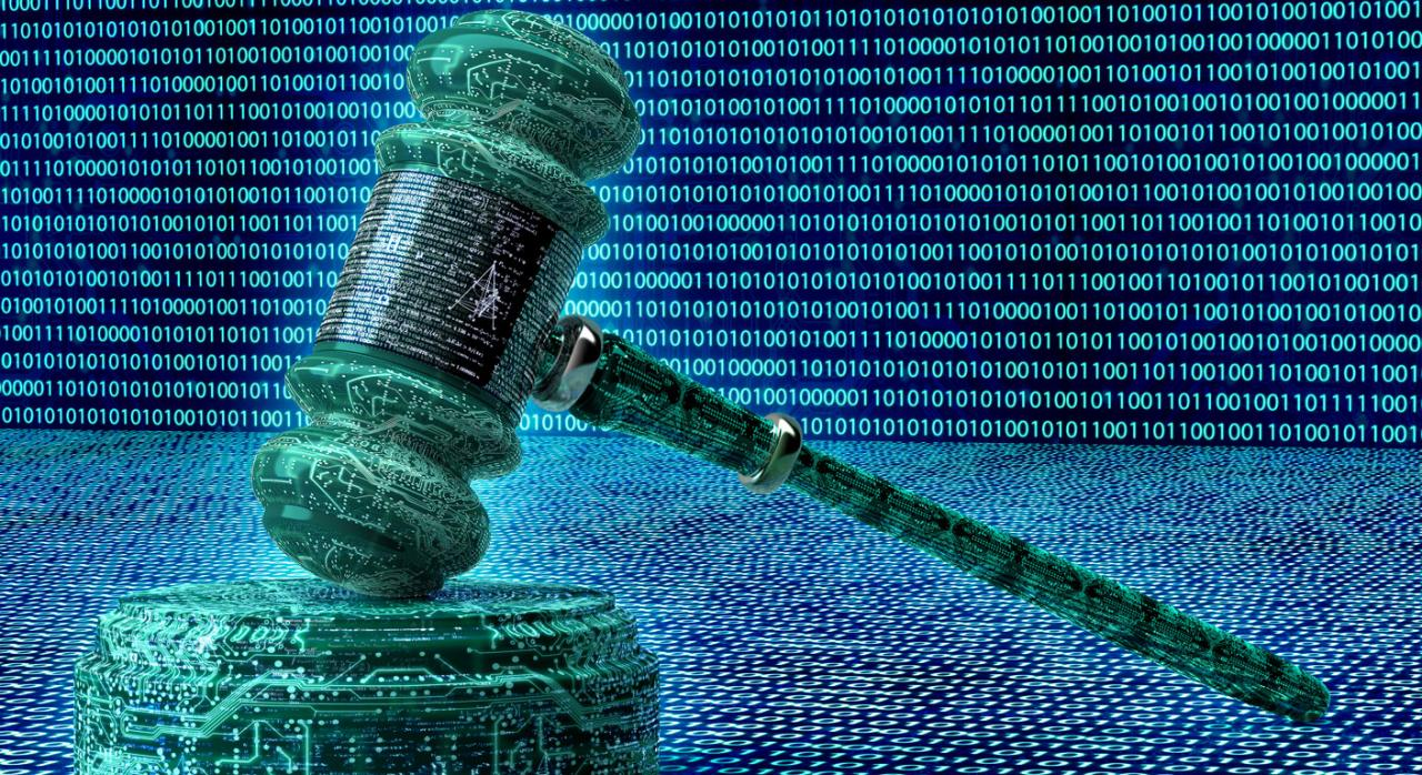 Mazo cibernético en 3d. Justicia digital